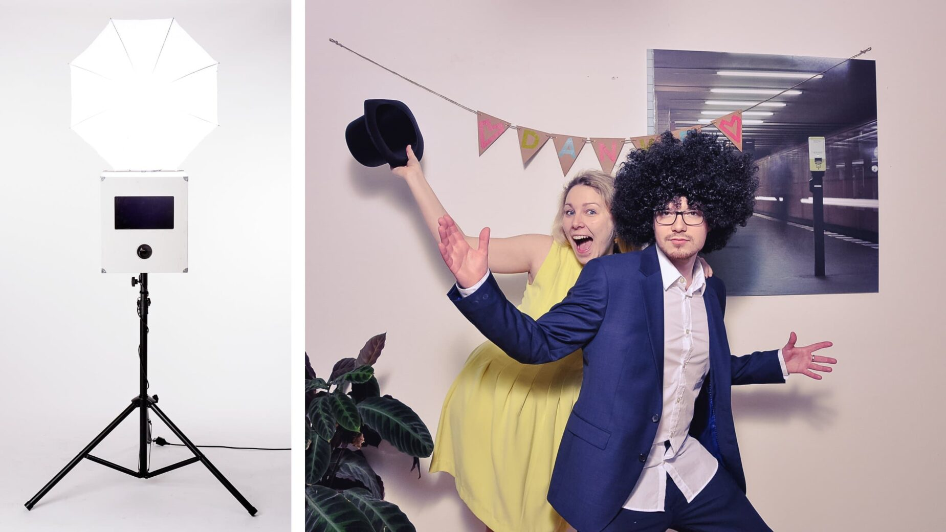 Der Photobooth von Jung und Wild design in schlichtem weißen Design für eure Party
