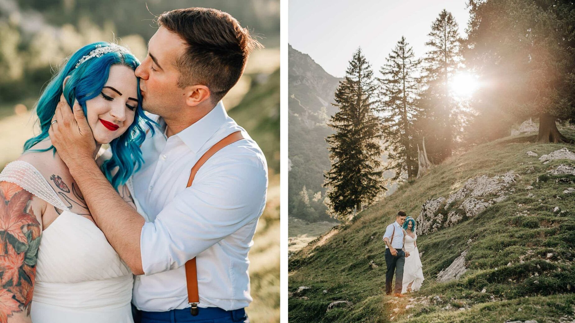 Hochzeitsfotos in den Bergen: Alpenidylle im Sommer, Brautpaar auf der Alm