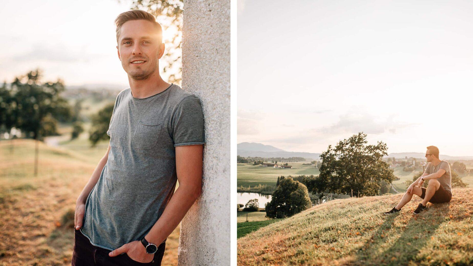Männerportrait mit Bergpanorama im Voralpenland bei Sonnenuntergang von Jung und Wild design