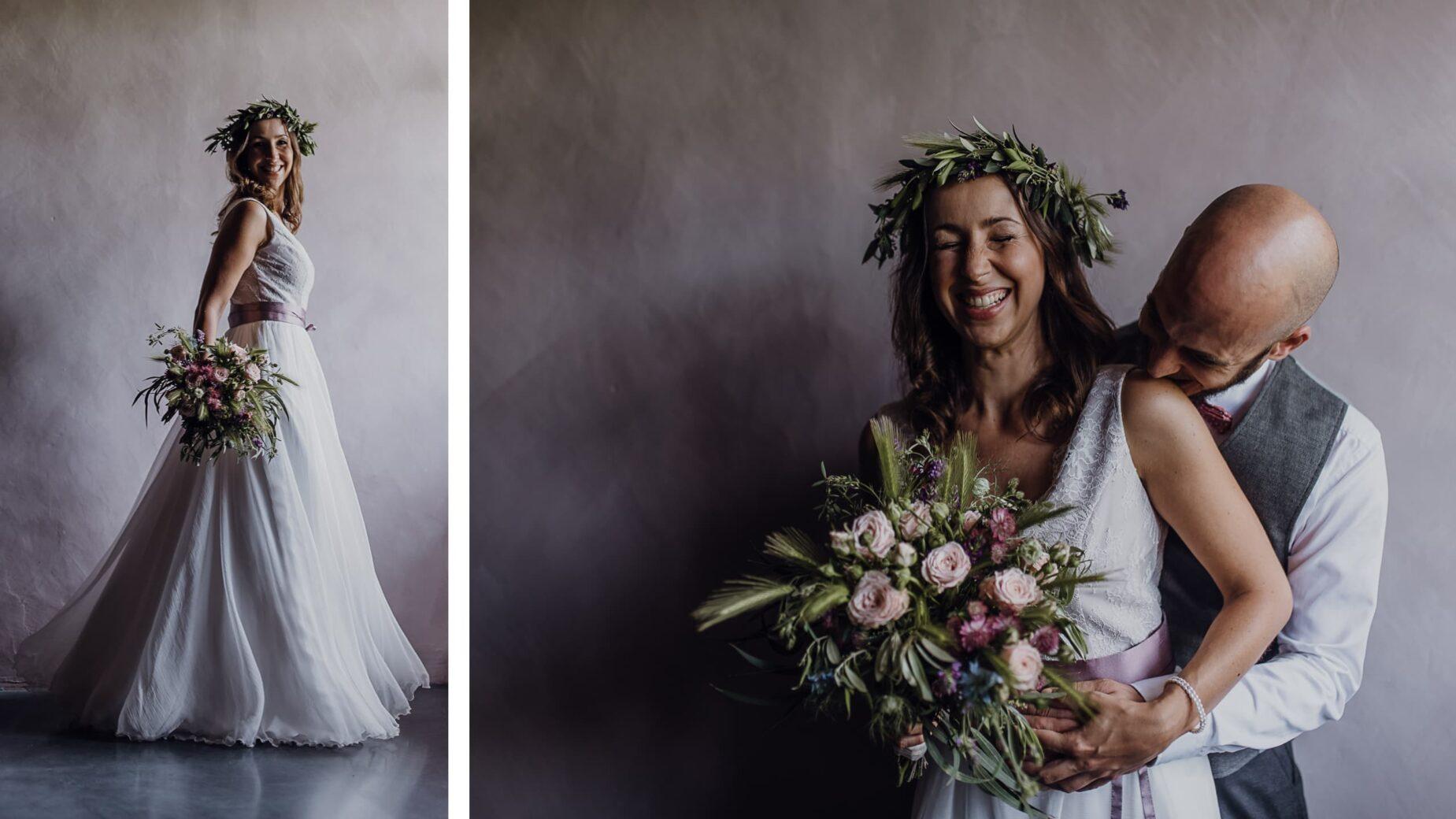 Hochzeitsfotos auf dem Land: Brautpaar auf einem Landsitz im Frühling, professionelle Hochzeitsfotos im Großraum München
