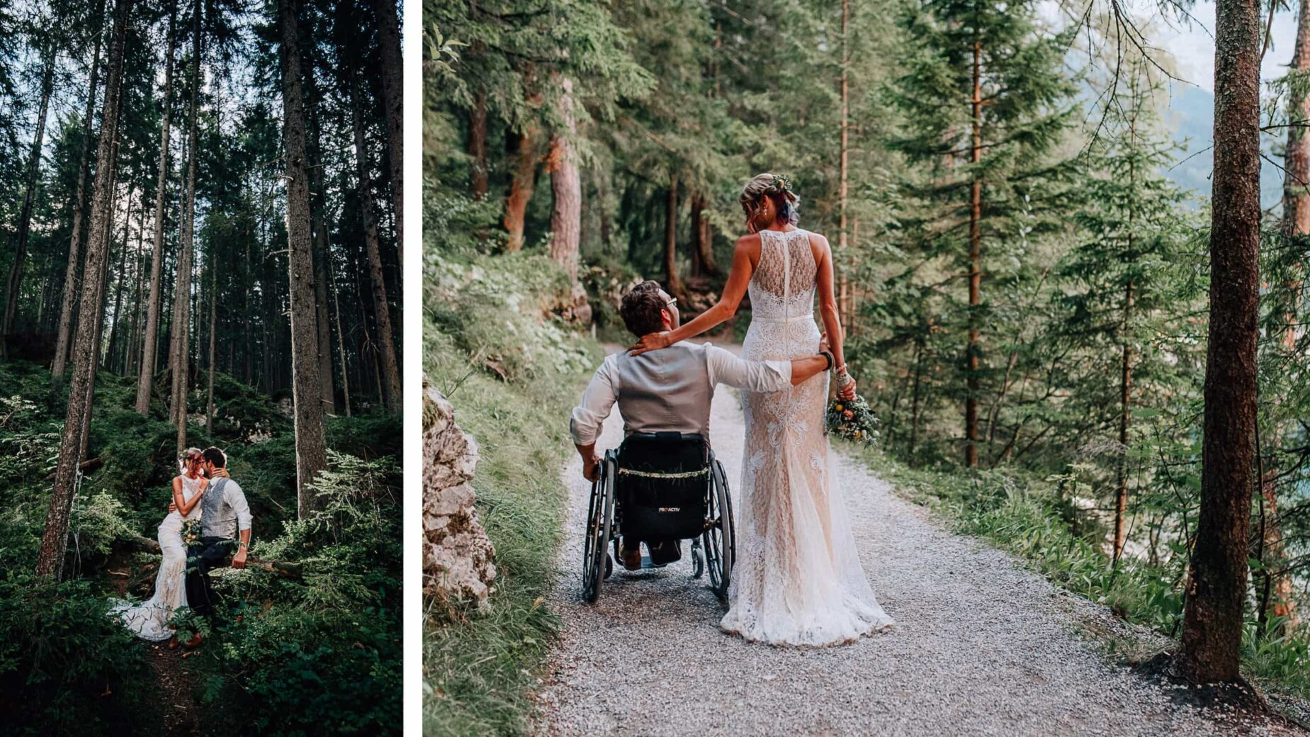 Professionelle Hochzeitsfotos in den Alpen: freie Trauung am Eibsee unterhalb der Zugspitze