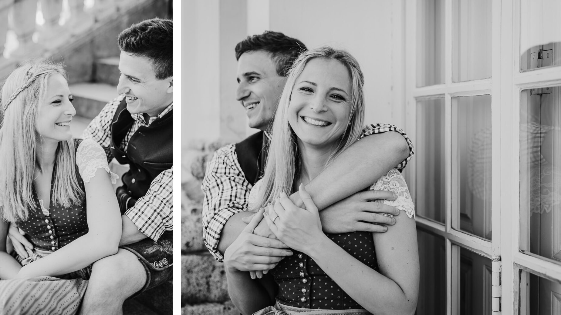 Paarfotos und Engagementbilder in München und Umgebung, Paar mit Trachtenoutfit