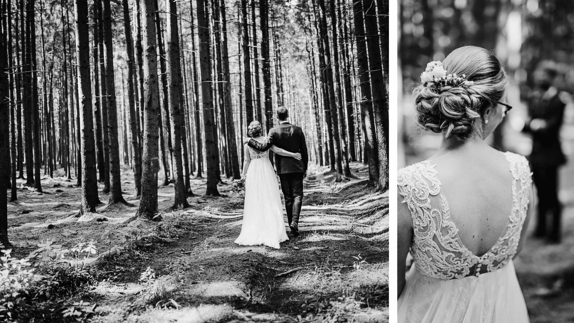 Hochzeitsreportage bei Hohenkammer, Portrait im Wald, Hochzeitsfotos auf dem Land, professionelle Hochzeitsbilder von Jung und Wild design rund um München, Ingolstadt, Pfaffenhofen, Augsburg