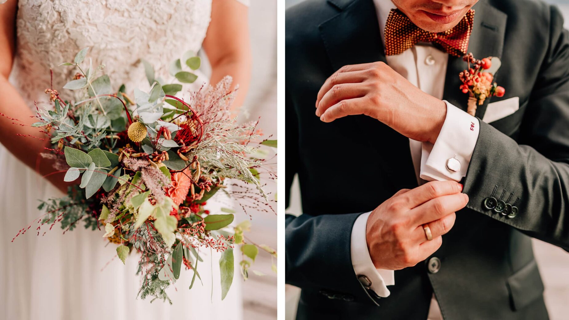 Hochzeitsdetails, Brautstrauß und Manschettenknöpfe beim Brautpaarshooting am Schliersee von Jung und Wild design