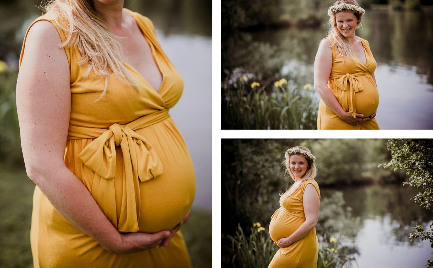 Schwangerschaftsoutfits für dein Babybauchshooting - Knielanges Kleid in Gelb - Mica Zeitz Fotografie, München, Pfaffenhofen, Regensburg, Ingolstadt
