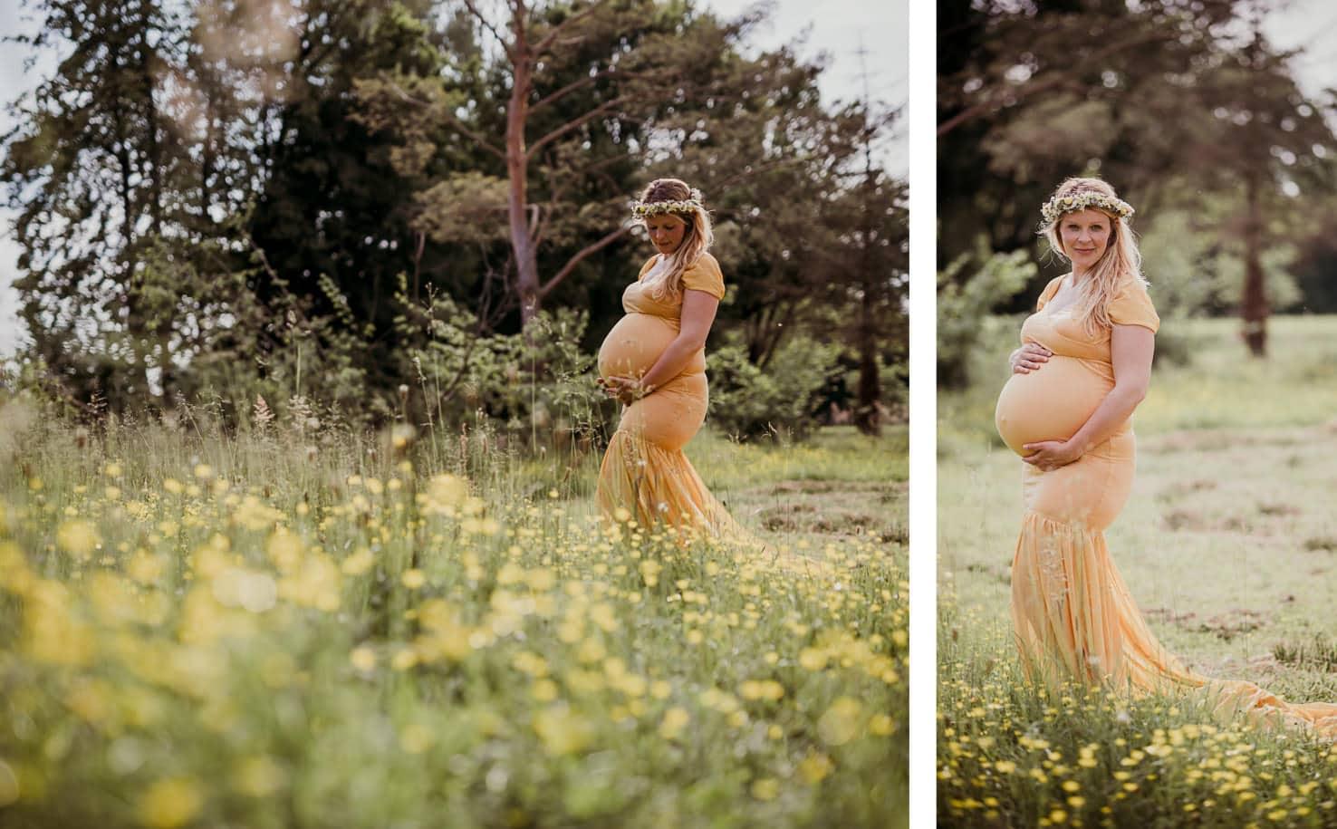 Schwangerschaftsoutfits für dein Babybauchshooting - Langes Kleid mit Schleppe in Gelb - Mica Zeitz Fotografie, München, Pfaffenhofen, Regensburg, Ingolstadt