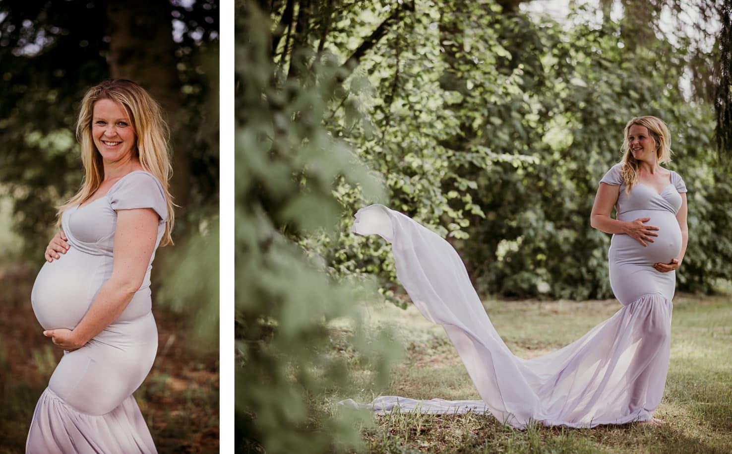 Schwangerschaftsoutfits für dein Babybauchshooting - Langes Kleid mit Schleppe in Taupe - Mica Zeitz Fotografie, München, Pfaffenhofen, Regensburg, Ingolstadt