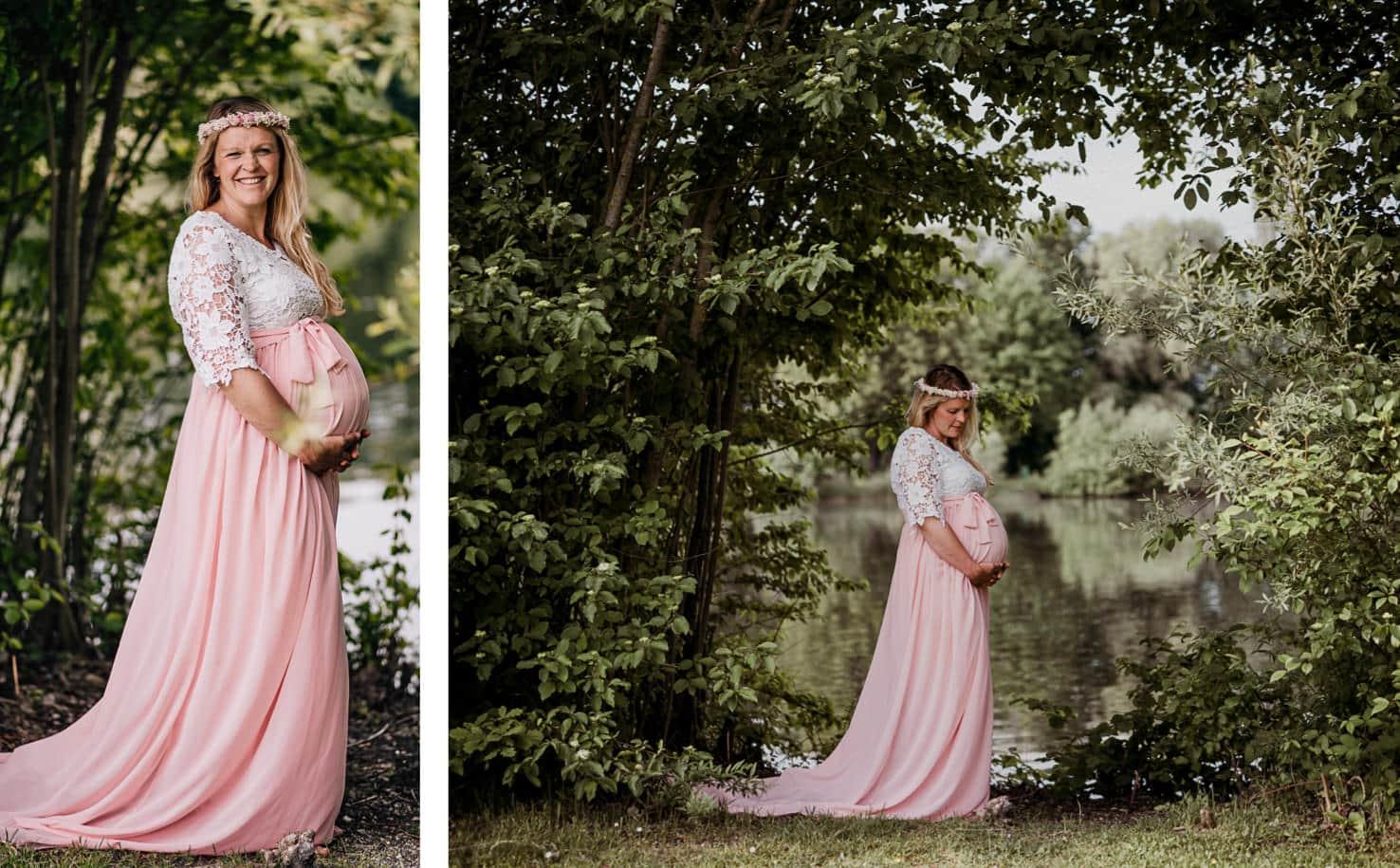 Schwangerschaftsoutfits für dein Babybauchshooting - Langes Kleid mit Spitze - Mica Zeitz Fotografie, München, Pfaffenhofen, Regensburg, Ingolstadt